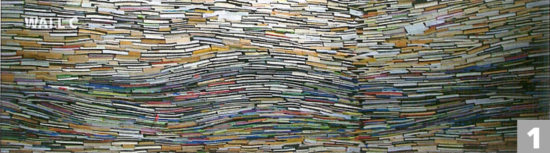 Stacked books form a wavy pattern