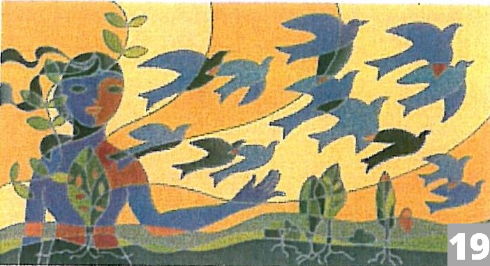 a women with a flock of birds flying away from her