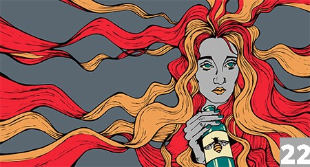 a woman with read and orange hair drinks from a bottle