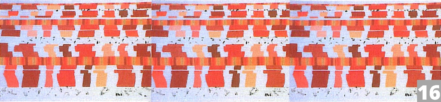 red and orange geometric shapes on white